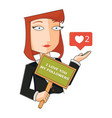 business woman with i love you vector image