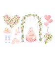 cartoon pink wedding decoration collection with vector image vector image