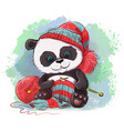 cartoon watercolor panda knits a scarf logo vector image