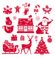 christmas icons on white background vector image vector image