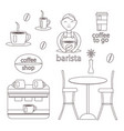 coffee set coffee maker and barista vector image