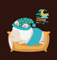 color poster scene of sheep sleeping in pillow and vector image