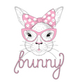 cute bunny girl portrait with pink pin up bow tie vector image