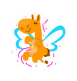 cute happy winged camel with a magic wand fantasy vector image vector image