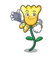doctor daffodil flower character cartoon vector image