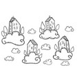 doodle houses flying on clouds vector image vector image