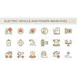 electric vehicle and power energy icon set vector image