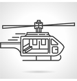Flat line colored icon for emergency helicopter vector image vector image