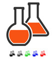 glass flasks flat icon vector image