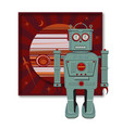 green robot red planet vector image