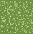 green seamless pattern farm animals vector image vector image
