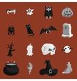 Halloween icons set black monochrome style vector image vector image