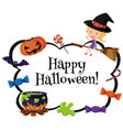 happy halloween card template with witch and candy vector image
