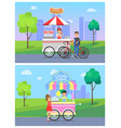 hot dog and candy cotton stand vector image vector image