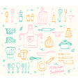 Kitchen supplies sketch set vector image