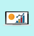 laptop with bitcoins and growth graph vector image vector image