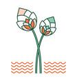 lotus flower linecolor vector image vector image