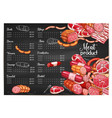 meat price template butchery or farm market vector image vector image