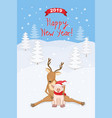 new year 2019 card with reindeer and piggy vector image