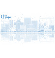 outline el paso skyline with blue buildings and vector image vector image