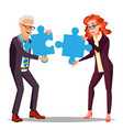 partnership businessman man woman holding vector image