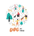 people training dogs in park dog doodle vector image