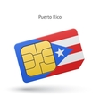 Puerto Rico mobile phone sim card with flag vector image vector image