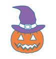 pumpkin hallooween with hat witch decorative icon vector image