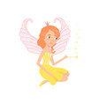 red-haired fairy sitting and spreading pixie dust vector image vector image