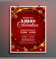 red sparkle merry christmas flyer poster template vector image vector image