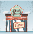 retro store building front vector image vector image