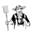 rural man with pitchfork and beer engraving vector image vector image
