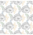 sea pattern with fish character for fabric or vector image vector image