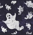 seamless halloween pattern with ghosts grunge vector image vector image