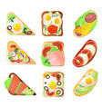 set different type sandwich for lunch box vector image vector image