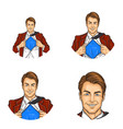 set of pop art round avatar icons for users vector image vector image