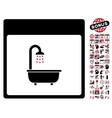 Shower Bath Calendar Page Flat Icon With vector image vector image