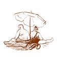 sketch couple under beach umbrella vector image