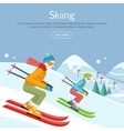 Skiing Banner Skiers on Snowy Slope Competition vector image vector image