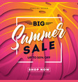 summer sale design with exotic palm leaves and vector image vector image