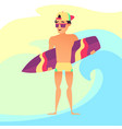 surfing summer vacation surfer guy with surfboard vector image