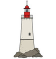 the funny old stone lighthouse vector image