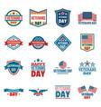 veterans logo set flat style vector image