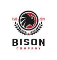 vintage bison circle logo design template vector image