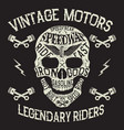 vintage motors emblem with skull vector image