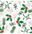 watercolor hand drawn christmas leaves vector image vector image