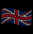 waving british flag collage of air plane items vector image