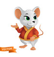 white rat or mouse in red bathrobe or cape with vector image