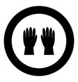 working gloves icon black color in round circle vector image