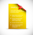 Yellow card with origami corner vector image vector image